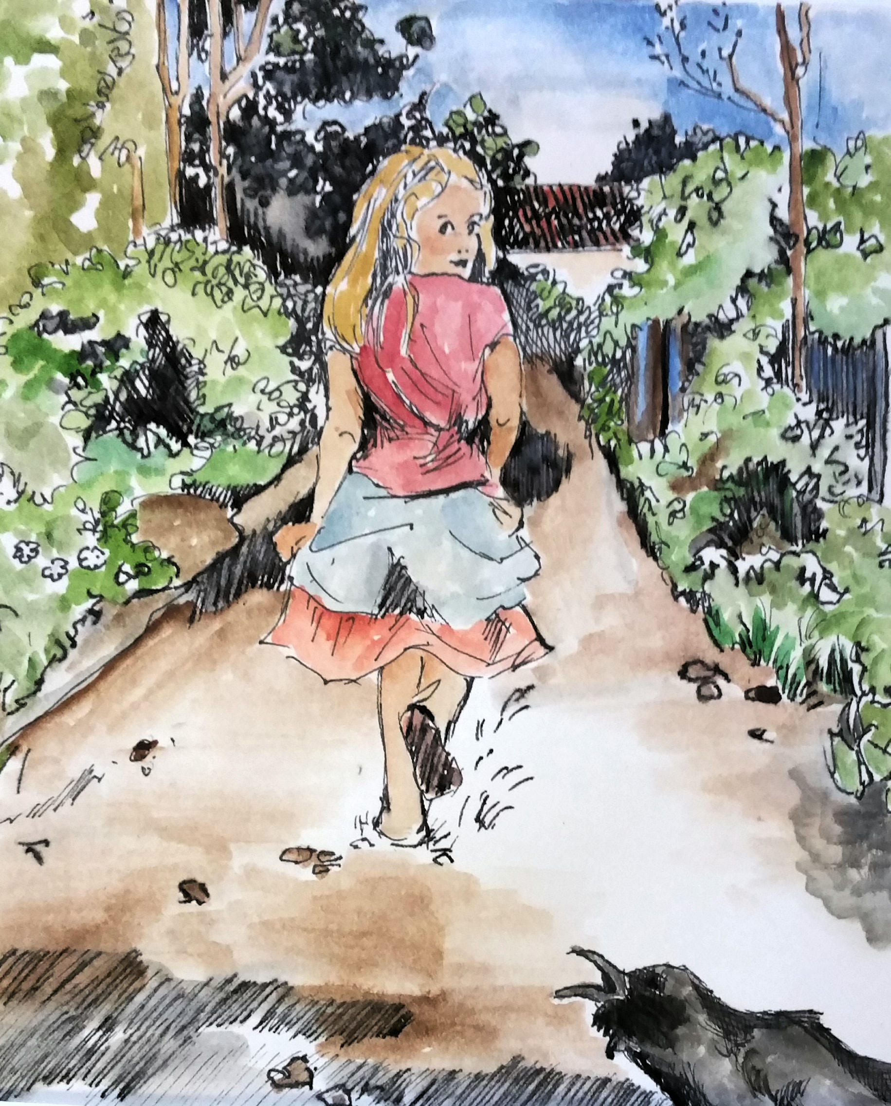 Drawing of a young girl looking behind her at a raven.