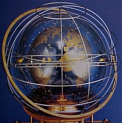 Globe atop the Turler Cosmos Clock