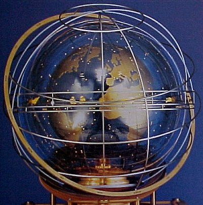 Globe atop the Turler Cosmos Clock