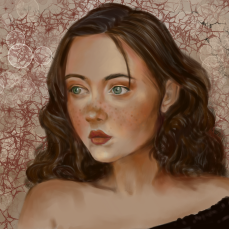 Freckled Girl, digital, photo reference from Pinterest